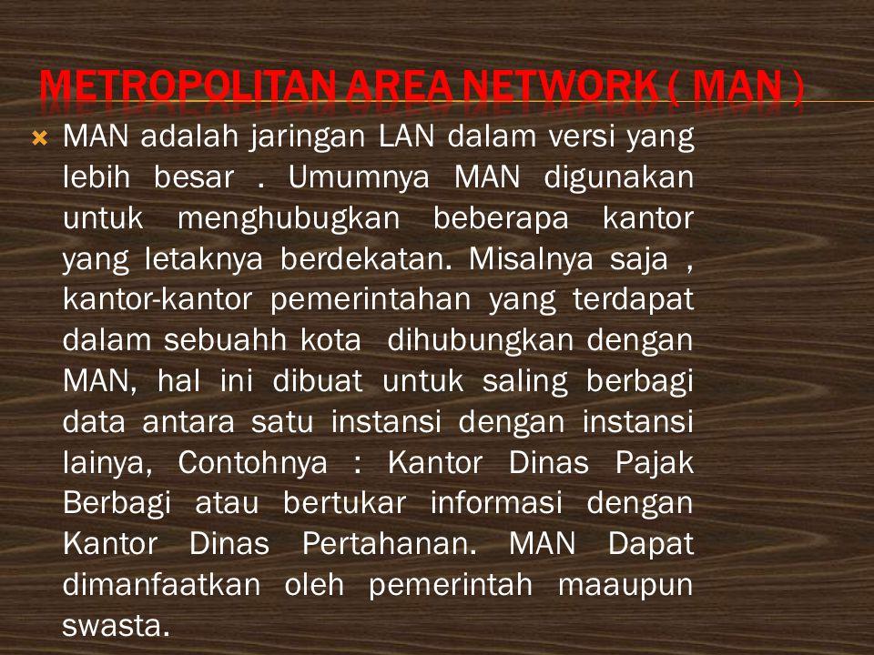  MAN adalah jaringan LAN dalam versi yang lebih besar.