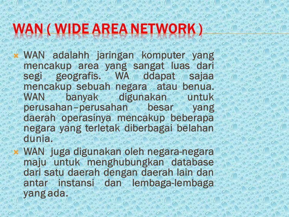  WAN adalahh jaringan komputer yang mencakup area yang sangat luas dari segi geografis.
