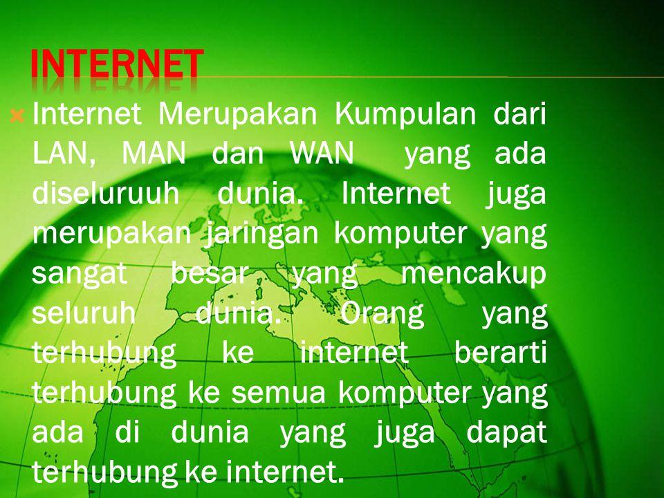  Internet Merupakan Kumpulan dari LAN, MAN dan WAN yang ada diseluruuh dunia.