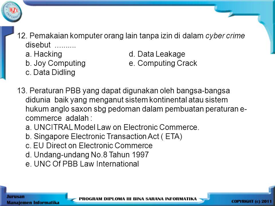 12.Pemakaian komputer orang lain tanpa izin di dalam cyber crime disebut..........