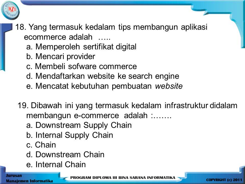 18.Yang termasuk kedalam tips membangun aplikasi ecommerce adalah …..