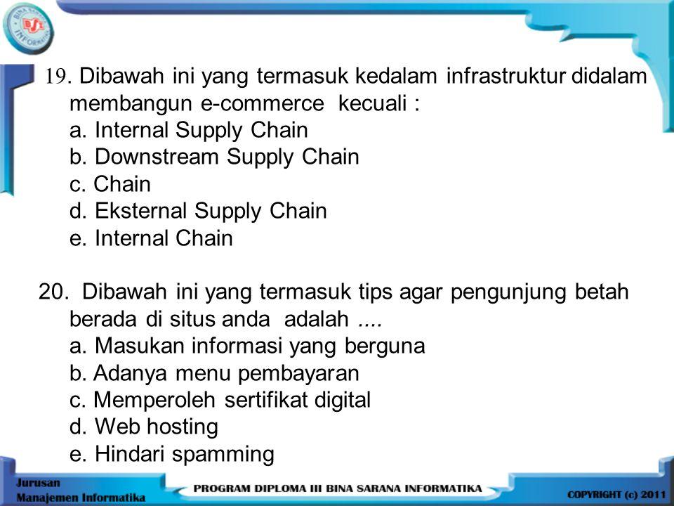 19.Dibawah ini yang termasuk kedalam infrastruktur didalam membangun e-commerce kecuali : a.