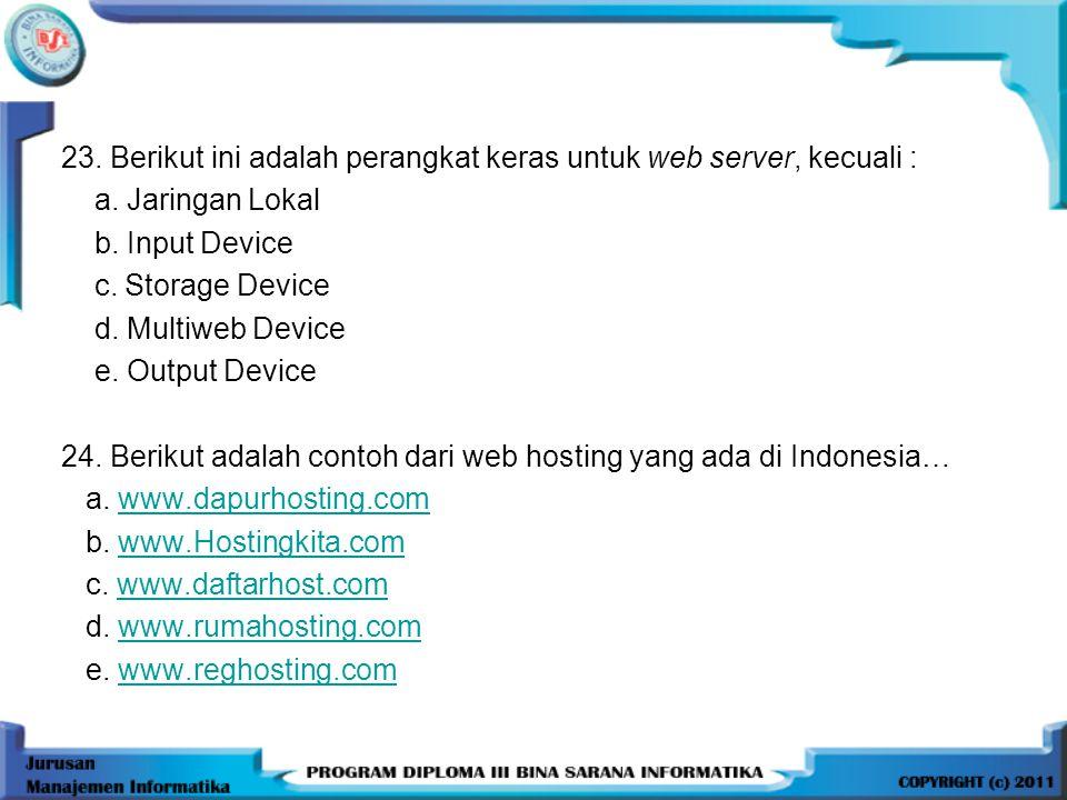 23.Berikut ini adalah perangkat keras untuk web server, kecuali : a.