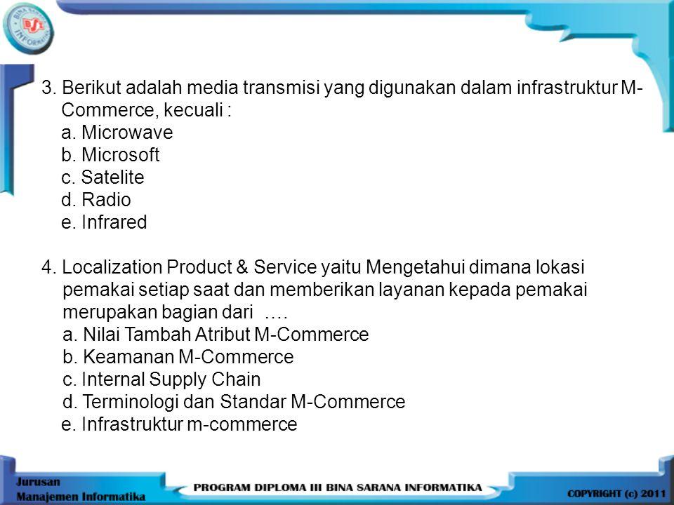 3.Berikut adalah media transmisi yang digunakan dalam infrastruktur M- Commerce, kecuali : a.