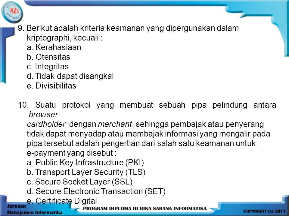 9.Berikut adalah kriteria keamanan yang dipergunakan dalam kriptographi, kecuali : a.