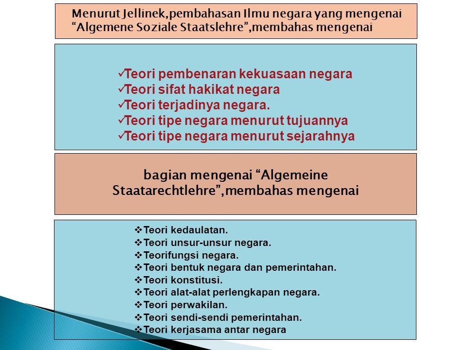  Teori kedaulatan.  Teori unsur-unsur negara.  Teorifungsi negara.  Teori bentuk negara dan pemerintahan.  Teori konstitusi.  Teori alat-alat pe