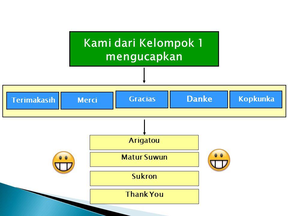 TerimakasihMerci Gracias Danke Kopkunka Arigatou Kami dari Kelompok 1 mengucapkan Matur Suwun Sukron Thank You