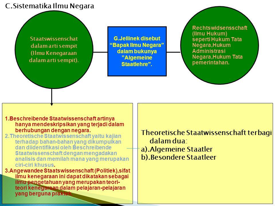 1.Beschreibende Staatwissenschaft artinya hanya mendeskripsikan yang terjadi dalam berhubungan dengan negara. 2.Theoretische Staatwissenschaft yaitu k