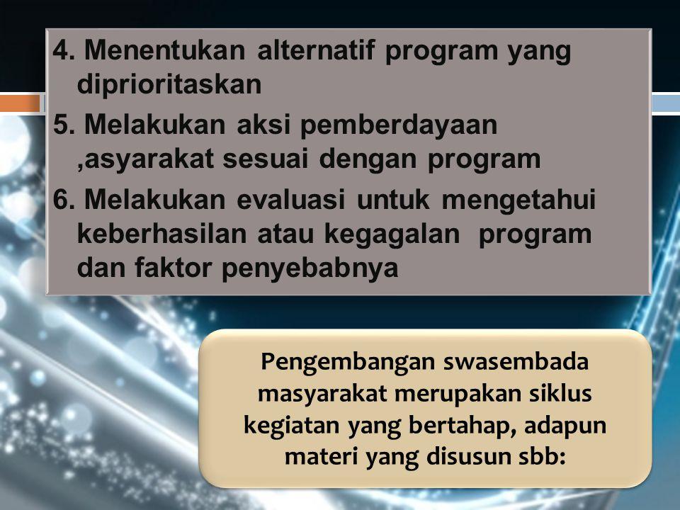 4. Menentukan alternatif program yang diprioritaskan 5. Melakukan aksi pemberdayaan,asyarakat sesuai dengan program 6. Melakukan evaluasi untuk menget