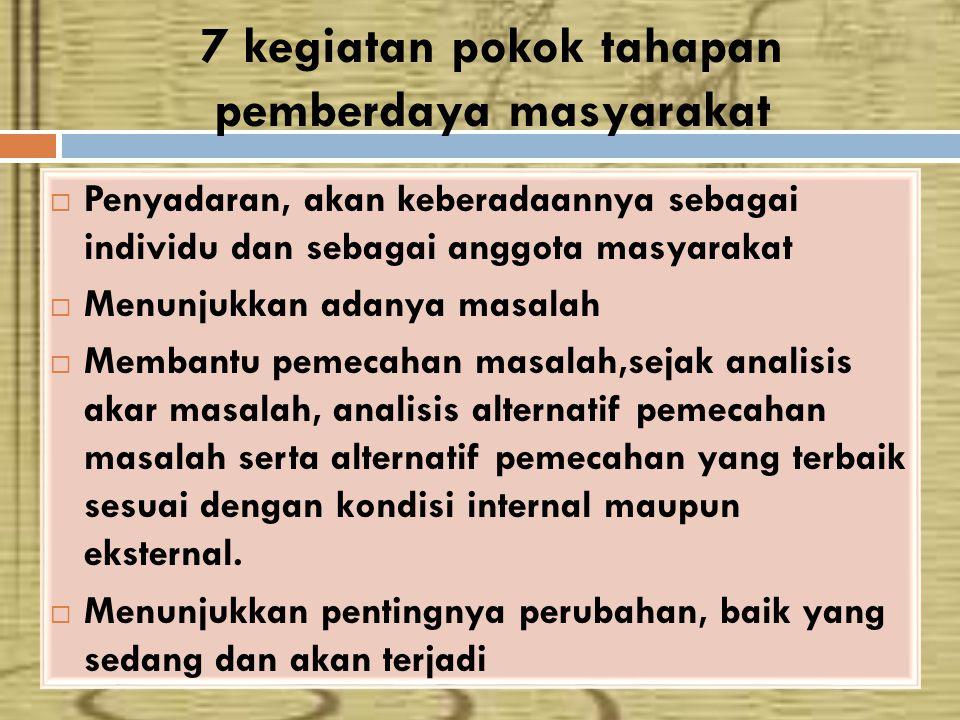 7 kegiatan pokok tahapan pemberdaya masyarakat  Penyadaran, akan keberadaannya sebagai individu dan sebagai anggota masyarakat  Menunjukkan adanya m