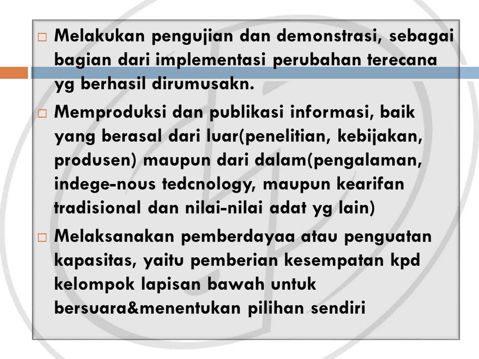 Melakukan pengujian dan demonstrasi, sebagai bagian dari implementasi perubahan terecana yg berhasil dirumusakn.  Memproduksi dan publikasi informa