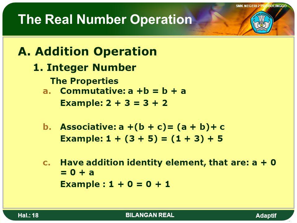 Adaptif SMK NEGERI 2 PROBOLINGGO Hal.: 17 BILANGAN REAL Operasi Bilangan Real A. Operasi Penjumlahan 1. Bilangan Bulat Sifat – sifat a.Komutatif: a +b