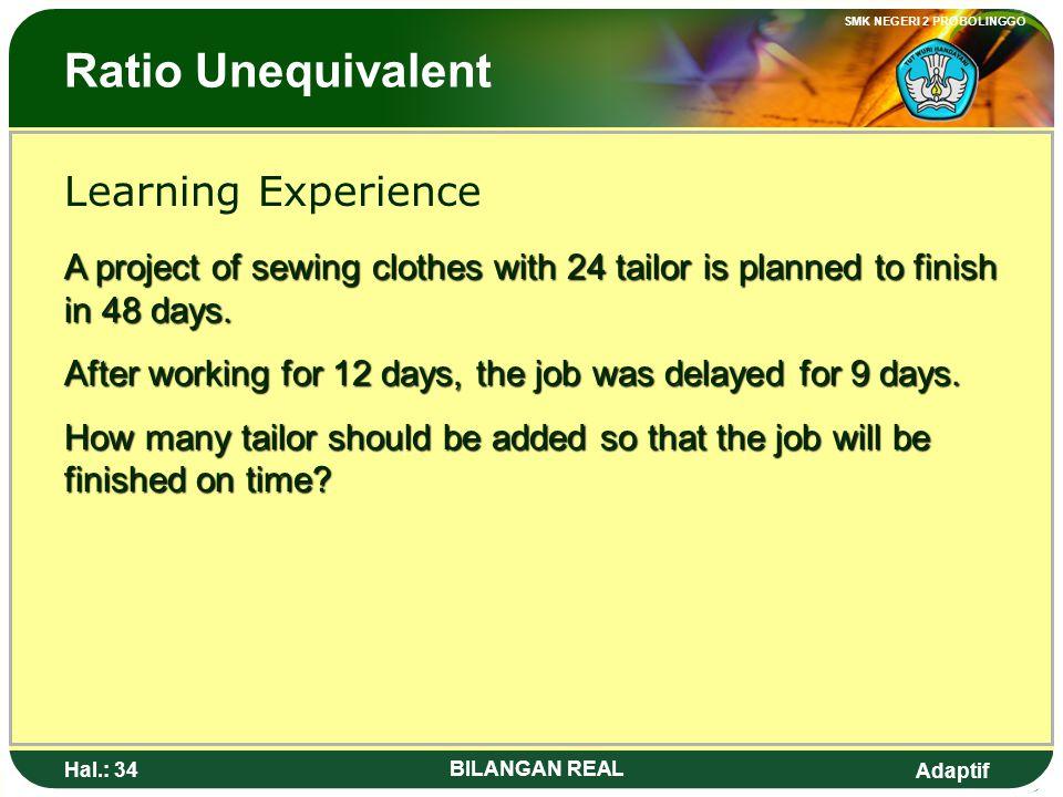 Adaptif SMK NEGERI 2 PROBOLINGGO Hal.: 33 BILANGAN REAL Perbandingan Berbalik Nilai Pengalaman Belajar Suatu pekerjaan borongan jahitan, dengan 24 ora