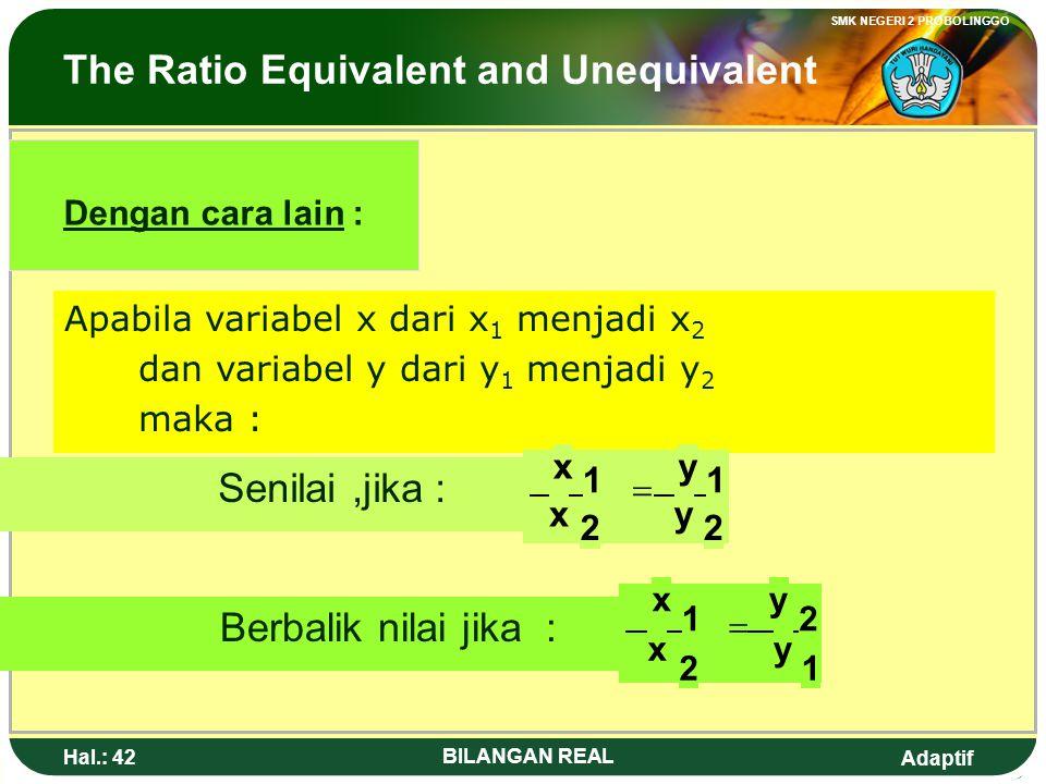 Adaptif SMK NEGERI 2 PROBOLINGGO Hal.: 41 BILANGAN REAL Perbandingan Senilai dan Berbalik Nilai Dengan cara lain : Apabila variabel x dari x 1 menjadi