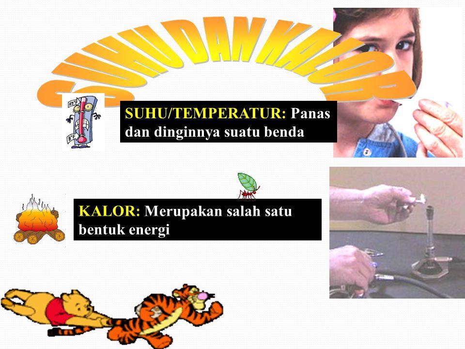 SUHU/TEMPERATUR: Panas dan dinginnya suatu benda KALOR: Merupakan salah satu bentuk energi