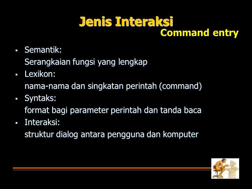 Jenis Interaksi  Semantik: Serangkaian fungsi yang lengkap  Lexikon: nama-nama dan singkatan perintah (command)  Syntaks: format bagi parameter per