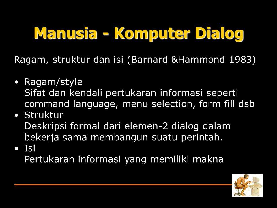 Manusia - Komputer Dialog Ragam, struktur dan isi (Barnard &Hammond 1983) Ragam/style Sifat dan kendali pertukaran informasi seperti command language,