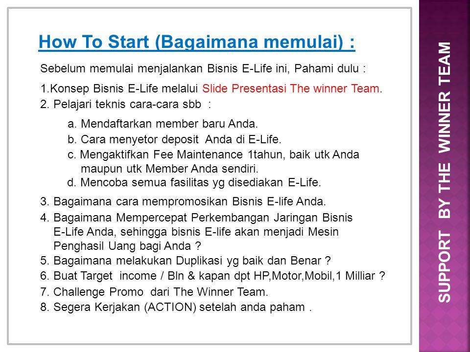 How To Start (Bagaimana memulai) : Sebelum memulai menjalankan Bisnis E-Life ini, Pahami dulu : 1.Konsep Bisnis E-Life melalui Slide Presentasi The wi