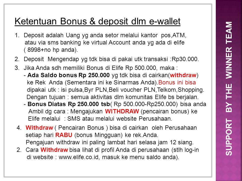 SUPPORT BY THE WINNER TEAM Ketentuan Bonus & deposit dlm e-wallet 1.Deposit adalah Uang yg anda setor melalui kantor pos,ATM, atau via sms banking ke