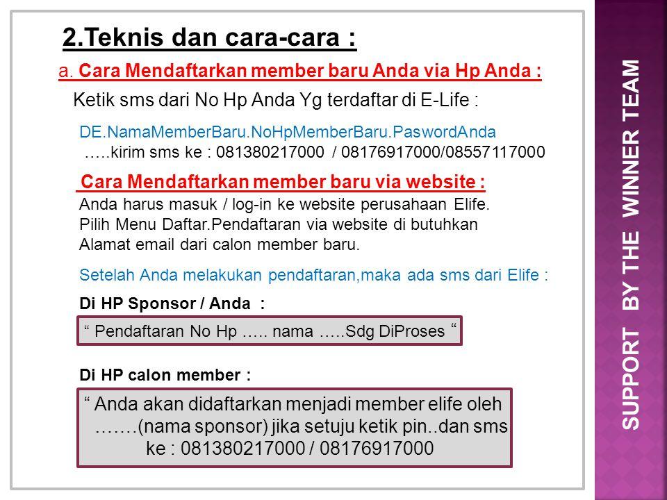 2.Teknis dan cara-cara : a. Cara Mendaftarkan member baru Anda via Hp Anda : Ketik sms dari No Hp Anda Yg terdaftar di E-Life : DE.NamaMemberBaru.NoHp