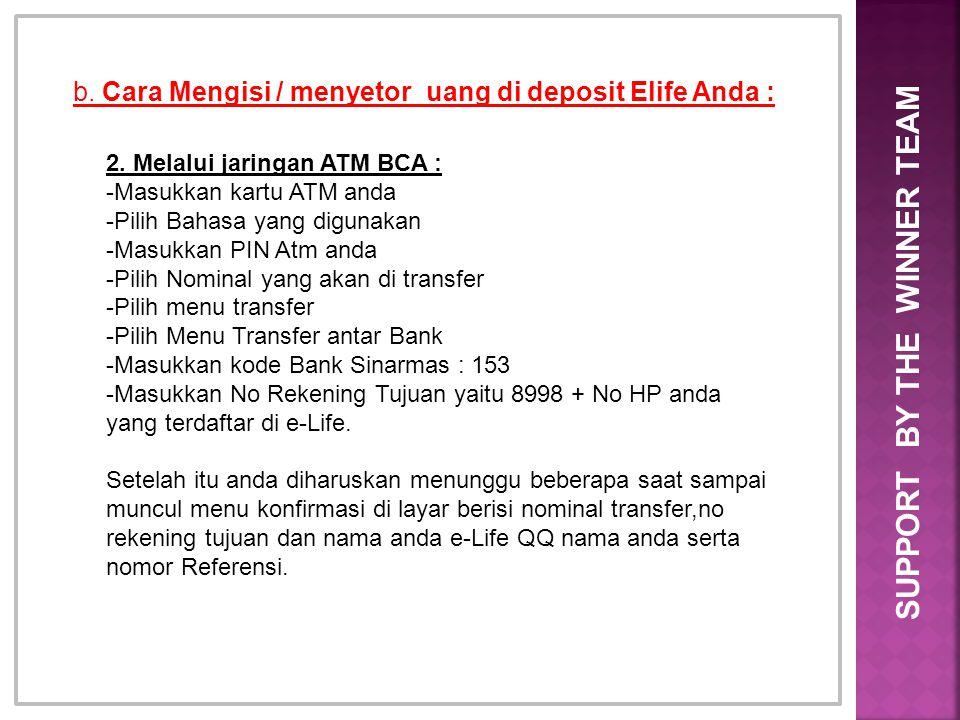 b. Cara Mengisi / menyetor uang di deposit Elife Anda : 2. Melalui jaringan ATM BCA : -Masukkan kartu ATM anda -Pilih Bahasa yang digunakan -Masukkan