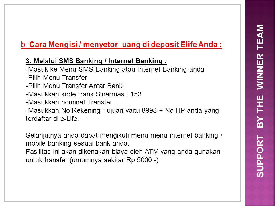 b. Cara Mengisi / menyetor uang di deposit Elife Anda : 3. Melalui SMS Banking / Internet Banking : -Masuk ke Menu SMS Banking atau Internet Banking a