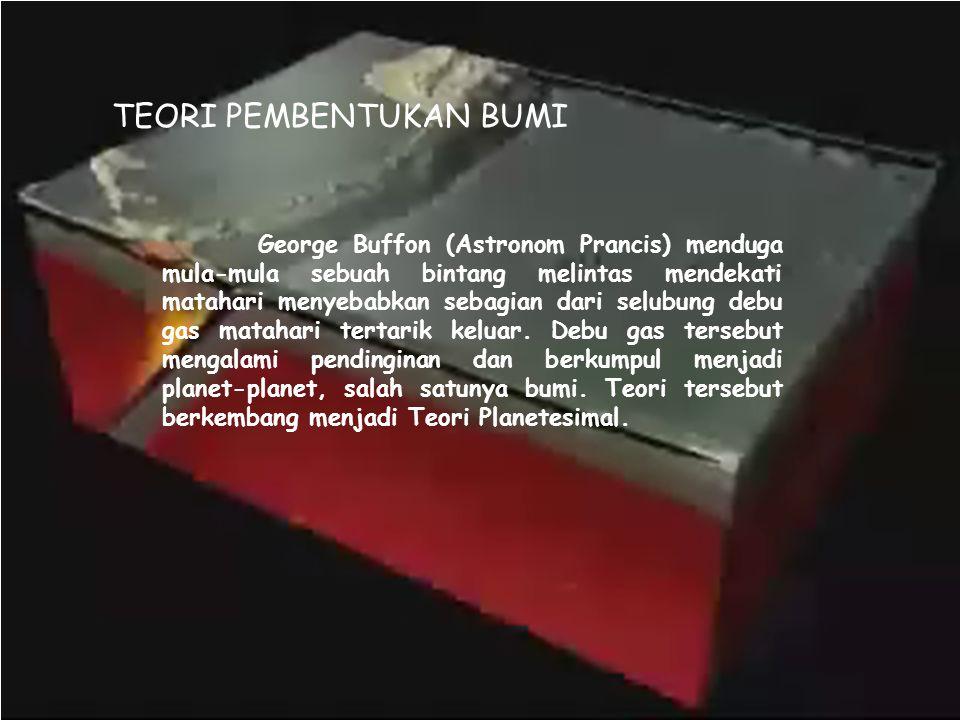 TEORI PEMBENTUKAN BUMI George Buffon (Astronom Prancis) menduga mula-mula sebuah bintang melintas mendekati matahari menyebabkan sebagian dari selubun