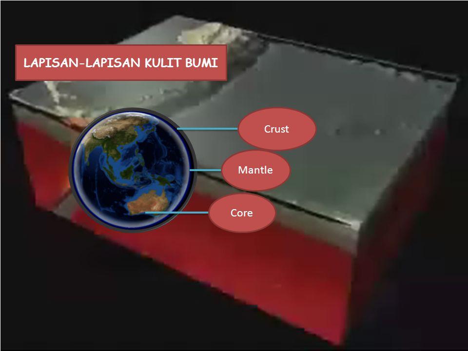  Crust (Kerak bumi) Lapisan ini merupakan terluar bumi dengan tebal kisaran 5-50 km.