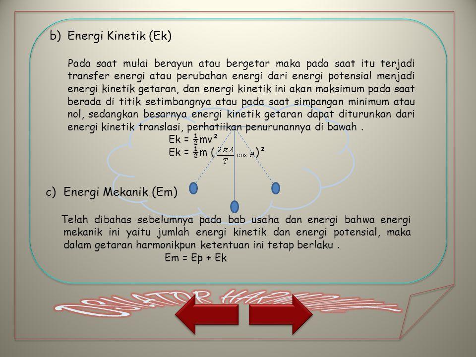 b)Energi Kinetik (Ek) Pada saat mulai berayun atau bergetar maka pada saat itu terjadi transfer energi atau perubahan energi dari energi potensial men