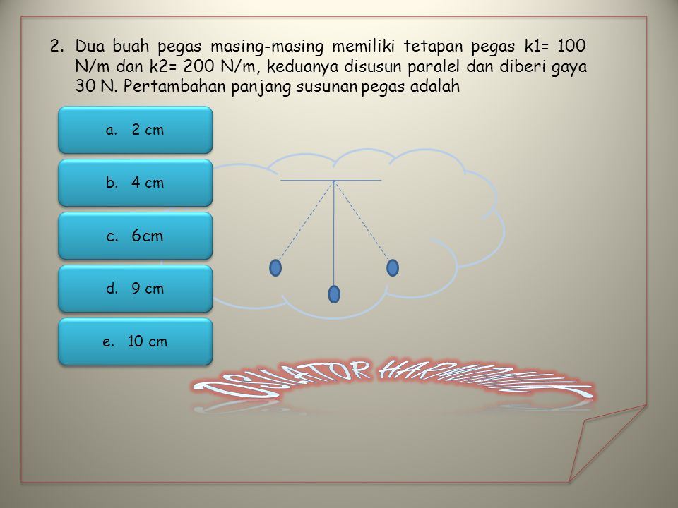 2.Dua buah pegas masing-masing memiliki tetapan pegas k1= 100 N/m dan k2= 200 N/m, keduanya disusun paralel dan diberi gaya 30 N. Pertambahan panjang