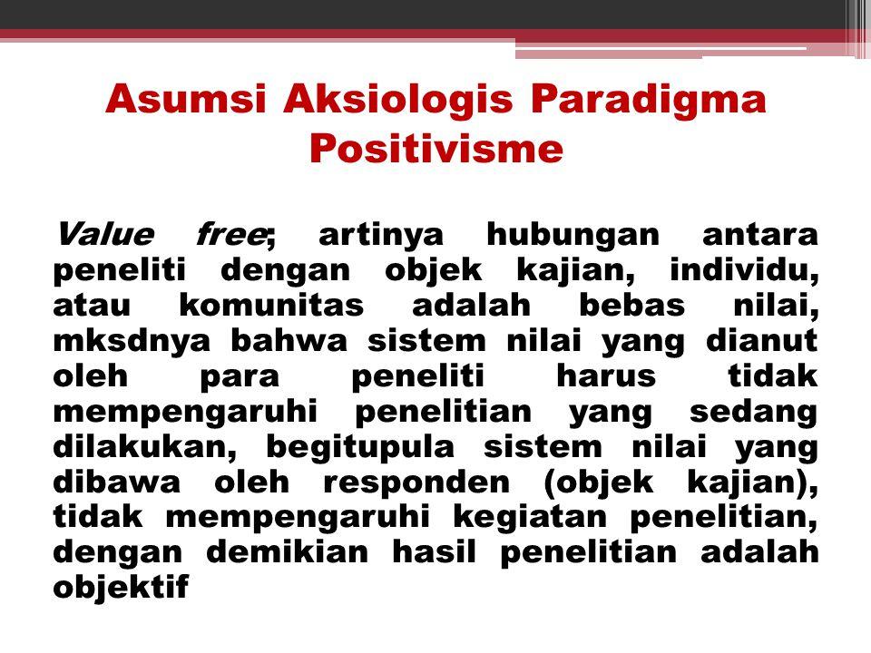 Asumsi Aksiologis Paradigma Positivisme Value free; artinya hubungan antara peneliti dengan objek kajian, individu, atau komunitas adalah bebas nilai,