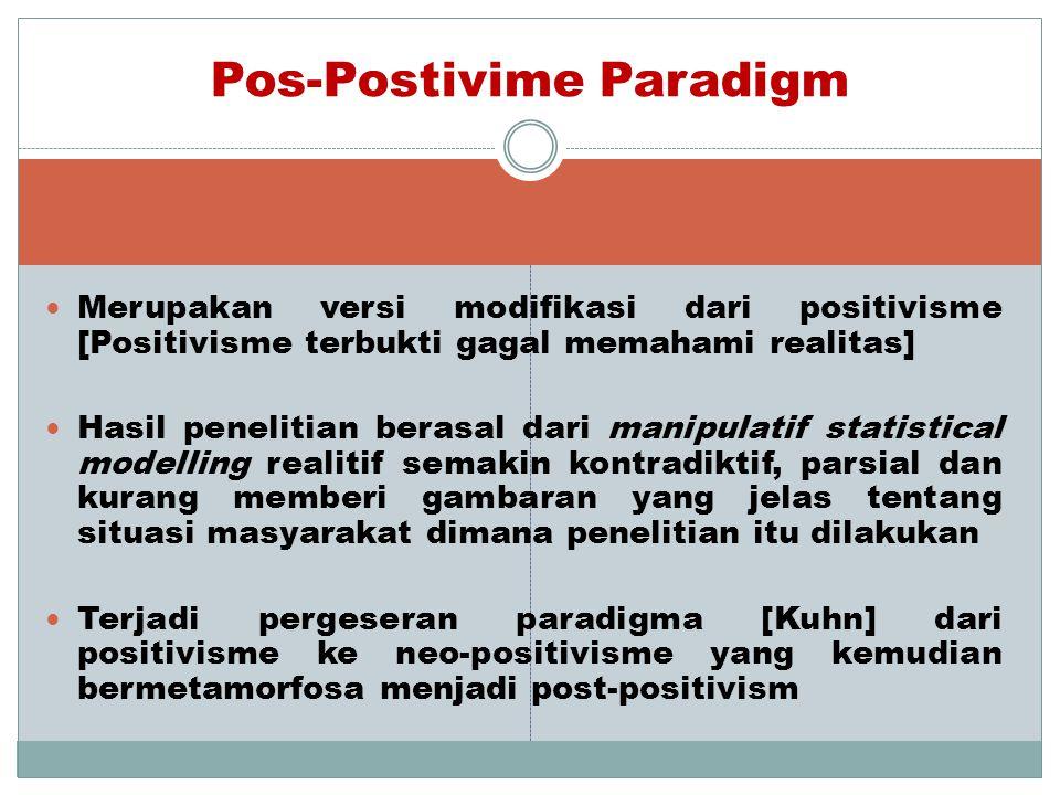  Merupakan versi modifikasi dari positivisme [Positivisme terbukti gagal memahami realitas]  Hasil penelitian berasal dari manipulatif statistical m