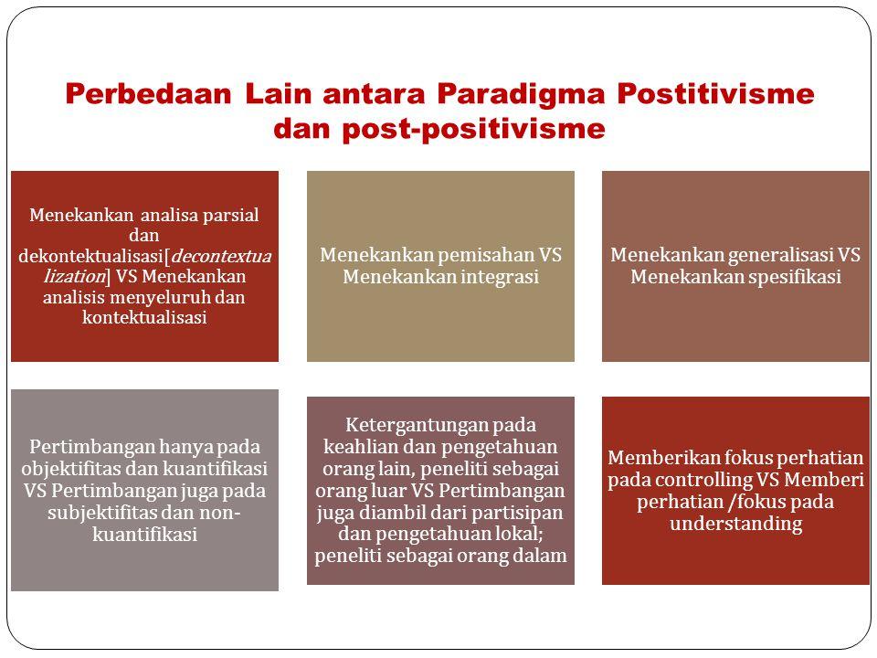 Perbedaan Lain antara Paradigma Postitivisme dan post-positivisme Menekankan analisa parsial dan dekontektualisasi[decontextua lization] VS Menekankan