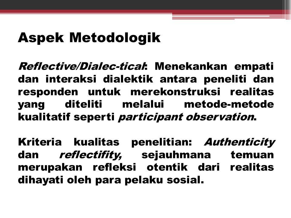 Aspek Metodologik Reflective/Dialec-tical: Menekankan empati dan interaksi dialektik antara peneliti dan responden untuk merekonstruksi realitas yang