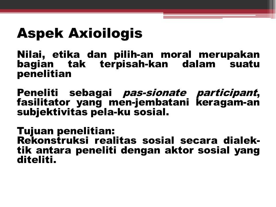 Aspek Axioilogis Nilai, etika dan pilih-an moral merupakan bagian tak terpisah-kan dalam suatu penelitian Peneliti sebagai pas-sionate participant, fa