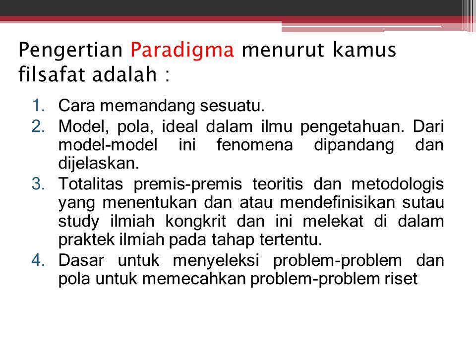 Pengertian Paradigma menurut kamus filsafat adalah : 1.Cara memandang sesuatu. 2.Model, pola, ideal dalam ilmu pengetahuan. Dari model-model ini fenom