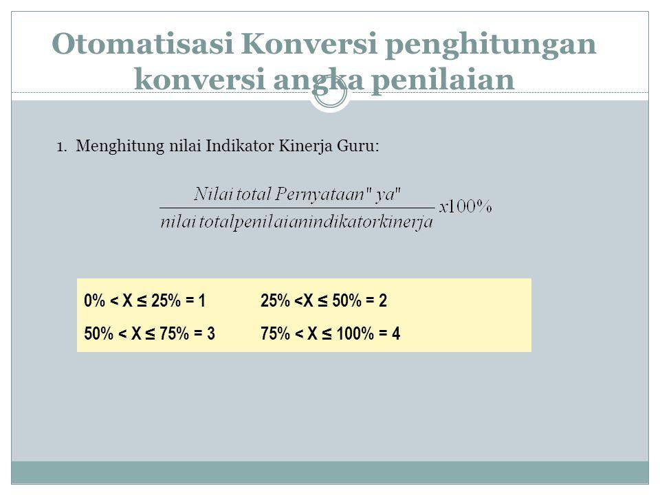 2.Konversi nilai PK GURU (Pembelajaran) ke dalam skala 0 – 100 sesuai Permenneg PAN & RM No.