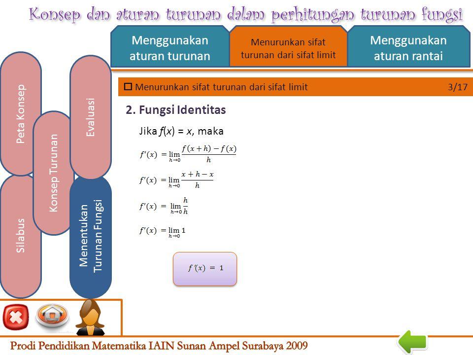 Konsep dan aturan turunan dalam perhitungan turunan fungsi  Menurunkan sifat turunan dari sifat limit 2/17 Menggunakan aturan turunan Menggunakan aturan rantai Silabus Peta Konsep Konsep Turunan Menentukan Turunan Fungsi Evaluasi Menurunkan sifat turunan dari sifat limit 1.