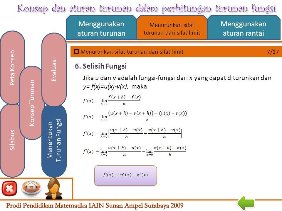Konsep dan aturan turunan dalam perhitungan turunan fungsi  Menurunkan sifat turunan dari sifat limit 6/17 Menggunakan aturan turunan Menggunakan aturan rantai Silabus Peta Konsep Konsep Turunan Menentukan Turunan Fungsi Evaluasi Menurunkan sifat turunan dari sifat limit Jika u dan v adalah fungsi-fungsi dari x yang dapat diturunkan dan y= f(x)=u(x)+v(x), maka 5.