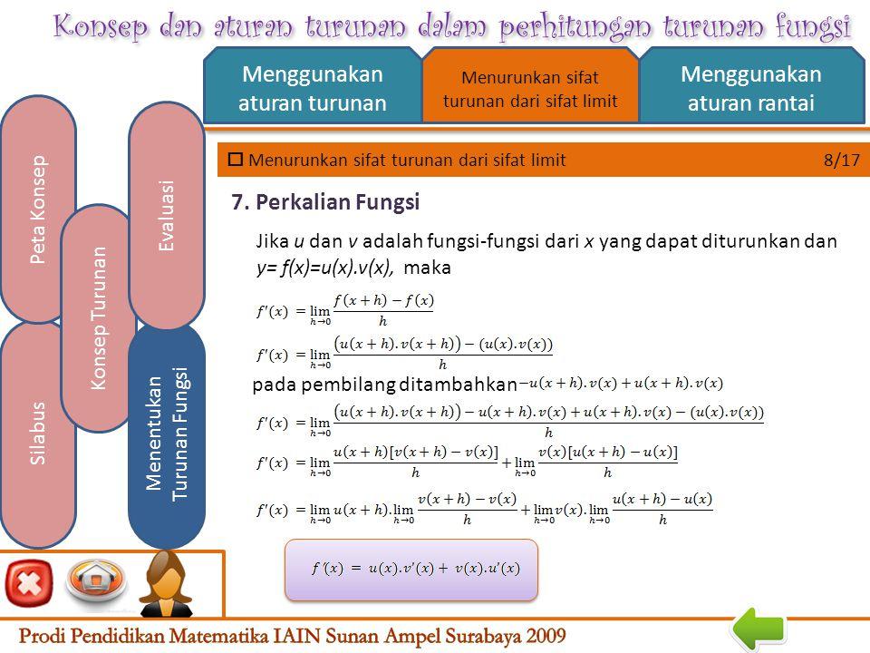 Konsep dan aturan turunan dalam perhitungan turunan fungsi  Menurunkan sifat turunan dari sifat limit 7/17 Menggunakan aturan turunan Menggunakan aturan rantai Silabus Peta Konsep Konsep Turunan Menentukan Turunan Fungsi Evaluasi Menurunkan sifat turunan dari sifat limit Jika u dan v adalah fungsi-fungsi dari x yang dapat diturunkan dan y= f(x)=u(x)-v(x), maka 6.
