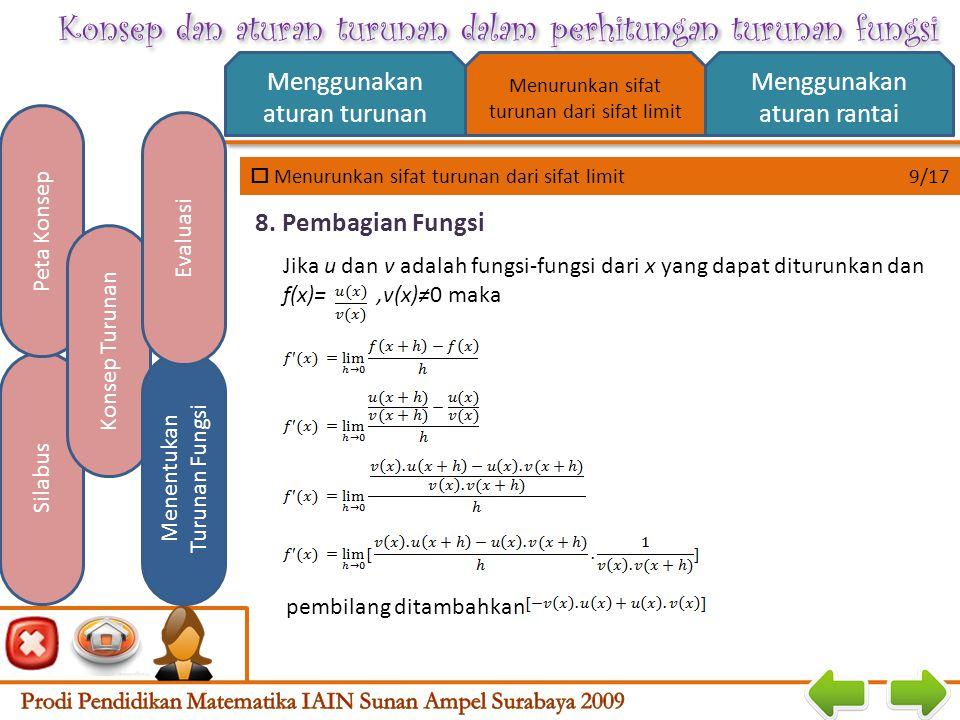 Konsep dan aturan turunan dalam perhitungan turunan fungsi  Menurunkan sifat turunan dari sifat limit 8/17 Menggunakan aturan turunan Menggunakan aturan rantai Silabus Peta Konsep Konsep Turunan Menentukan Turunan Fungsi Evaluasi Menurunkan sifat turunan dari sifat limit Jika u dan v adalah fungsi-fungsi dari x yang dapat diturunkan dan y= f(x)=u(x).v(x), maka 7.