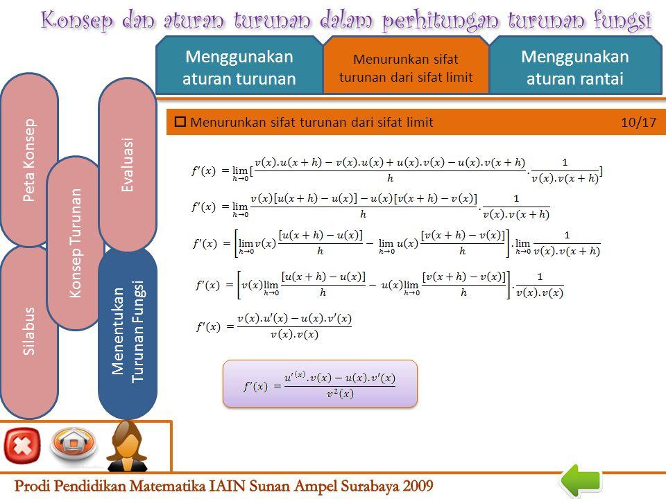 Konsep dan aturan turunan dalam perhitungan turunan fungsi  Menurunkan sifat turunan dari sifat limit 9/17 Menggunakan aturan turunan Menggunakan aturan rantai Silabus Peta Konsep Konsep Turunan Menentukan Turunan Fungsi Evaluasi Menurunkan sifat turunan dari sifat limit Jika u dan v adalah fungsi-fungsi dari x yang dapat diturunkan dan f(x)=,v(x)≠0 maka 8.