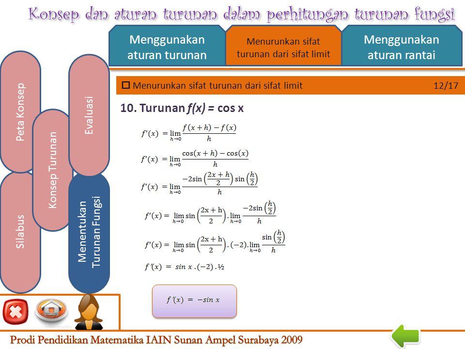 Konsep dan aturan turunan dalam perhitungan turunan fungsi  Menurunkan sifat turunan dari sifat limit 11/17 Menggunakan aturan turunan Menggunakan aturan rantai Silabus Peta Konsep Konsep Turunan Menentukan Turunan Fungsi Evaluasi Menurunkan sifat turunan dari sifat limit 9.