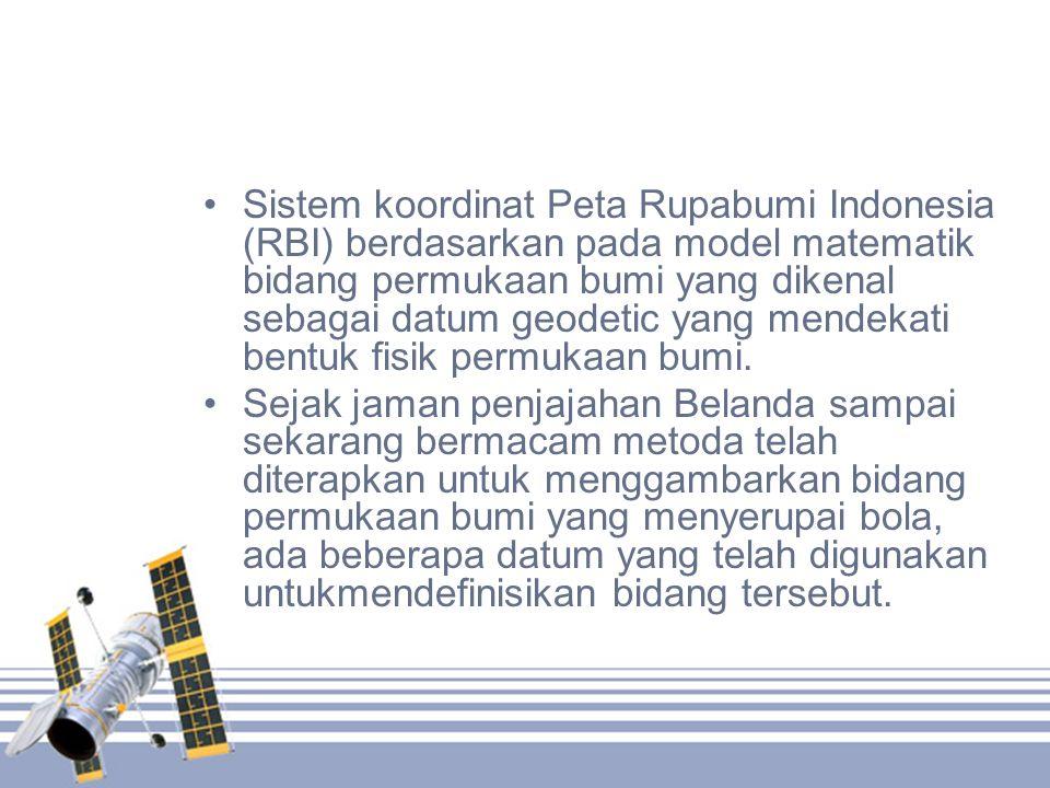 •Sistem koordinat Peta Rupabumi Indonesia (RBI) berdasarkan pada model matematik bidang permukaan bumi yang dikenal sebagai datum geodetic yang mendek