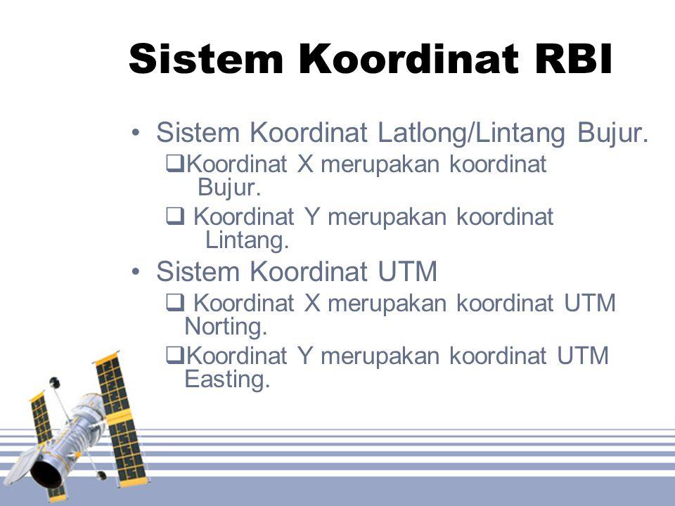 Sistem Koordinat RBI •Sistem Koordinat Latlong/Lintang Bujur.  Koordinat X merupakan koordinat Bujur.  Koordinat Y merupakan koordinat Lintang. •Sis