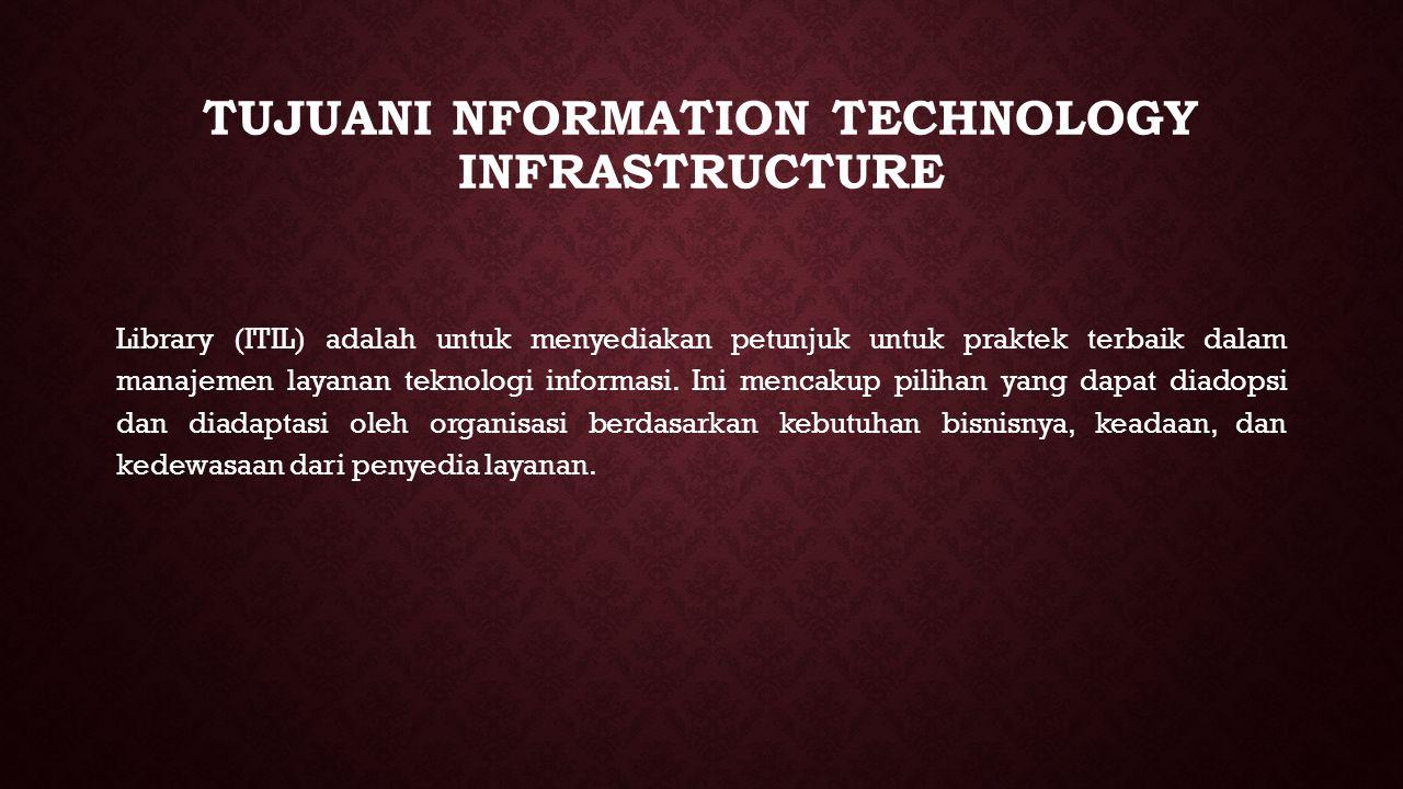 TUJUANI NFORMATION TECHNOLOGY INFRASTRUCTURE Library (ITIL) adalah untuk menyediakan petunjuk untuk praktek terbaik dalam manajemen layanan teknologi informasi.
