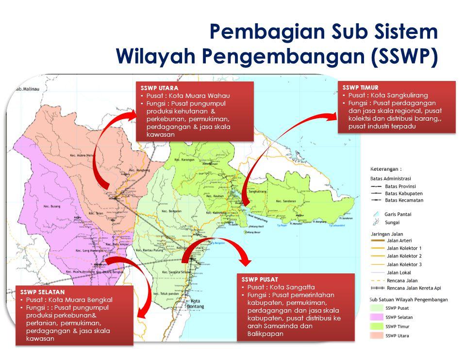 Pembagian Sub Sistem Wilayah Pengembangan (SSWP) SSWP PUSAT • Pusat : Kota Sangatta • Fungsi : Pusat pemerintahan kabupaten, permukiman, perdagangan d