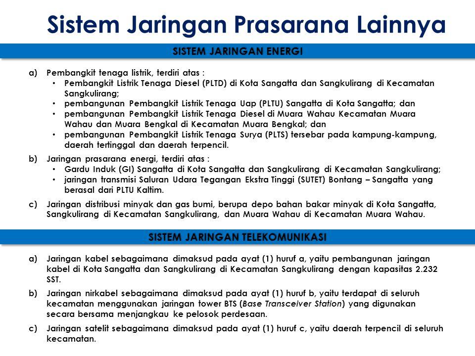 Sistem Jaringan Prasarana Lainnya SISTEM JARINGAN ENERGI a)Pembangkit tenaga listrik, terdiri atas : • Pembangkit Listrik Tenaga Diesel (PLTD) di Kota