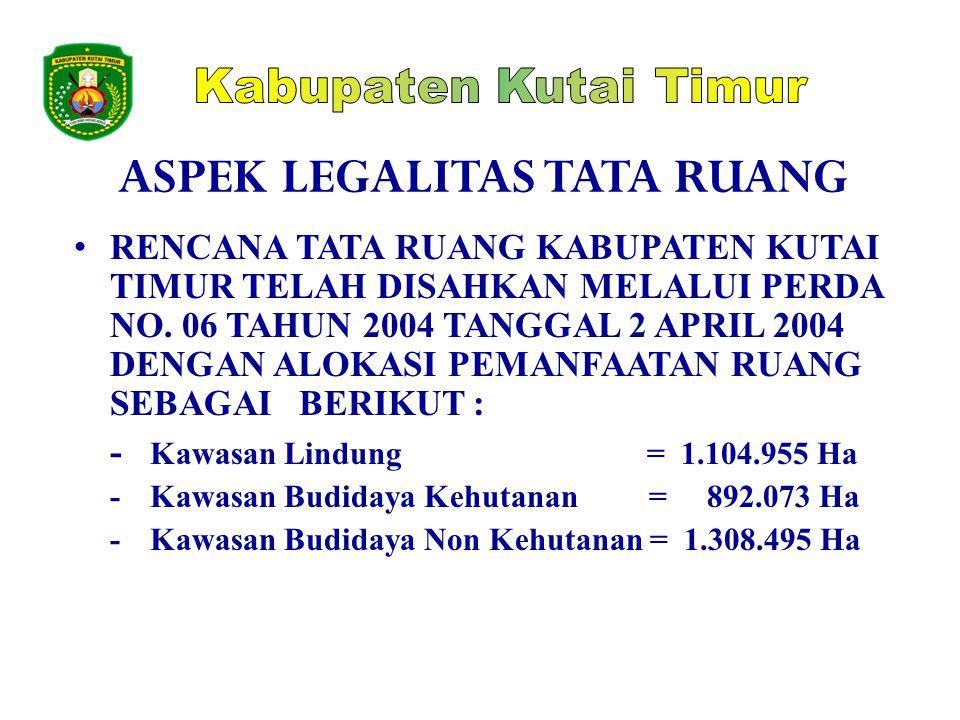 ASPEK LEGALITAS TATA RUANG • RENCANA TATA RUANG KABUPATEN KUTAI TIMUR TELAH DISAHKAN MELALUI PERDA NO. 06 TAHUN 2004 TANGGAL 2 APRIL 2004 DENGAN ALOKA