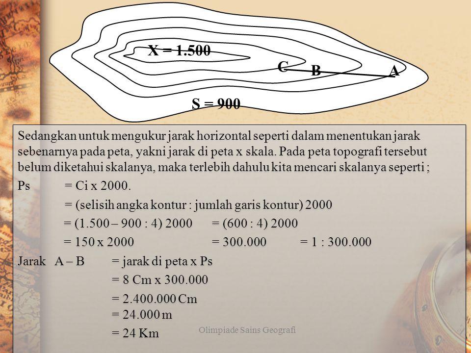 Contoh 2 : Tentukan lereng A-B pada gambar di bawah ini jika diketahui panjang A – B = 8 Cm dan panjang AC = 10 Cm ! Olimpiade Sains Geografi Untuk me